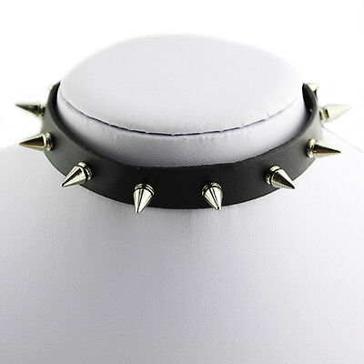 Personalized Silver Punk Spike Collar Gothic Leather Choker Necklace Cool B88U