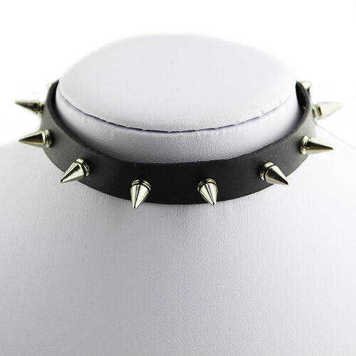 GIRL LEATHER COLLAR SPIKE CHOKER SILVER TONE STUDS EMO METAL GOTHIC NECKLACE BDA