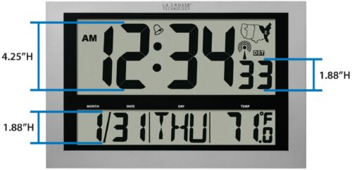 "513-1211 La Crosse Technology Large 4"" Time Display Atomic Digital Wall Clock"