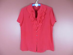 TB03992-NEW-PENDLETON-Woman-100-Silk-Short-Sleeve-Blouse-Ruffle-Trim-Red-Sz-18