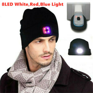 Rechargeable Men Women 8LED Light Beanie Hat Ski Lamp Christmas Knit Cap Champ