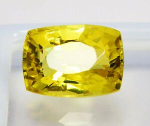 Natural-CERTIFIED-Cushion-Cut-10-90-Cts-Yellow-Sapphire-Loose-Gemstone