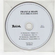 (FU617) Franz & Shape ft Dirk Da Davo, Maximum Joy - 2006 DJ CD