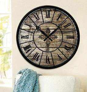 Large Home Decor Wooden Wall Clock Vintage Roman Numeral MDF