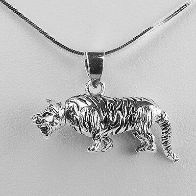 Solid .925 Sterling Oxidized Silver Tiger Movable Pendant sp228