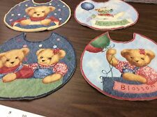 BLUE JEAN TEDDY ROUND-CUT-QUILTED & LINED BABY BIBS- 4 IN A SET