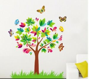3d wandtattoo wandsticker kinder wandaufkleber blumen baum. Black Bedroom Furniture Sets. Home Design Ideas
