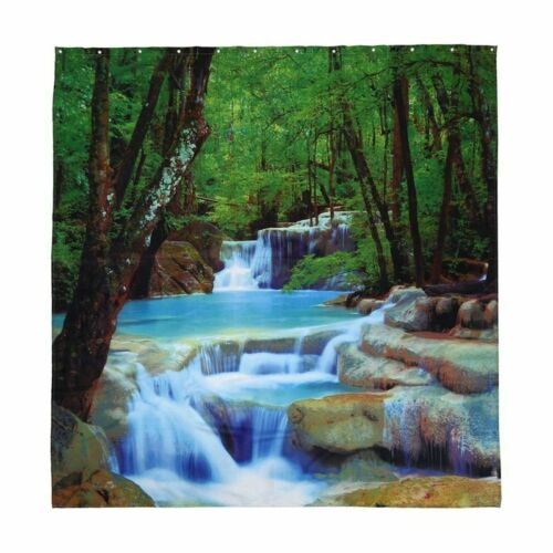 3D Waterfall Bathroom Scenery Polyester Fabric Bath Shower Curtain with 12 Hooks