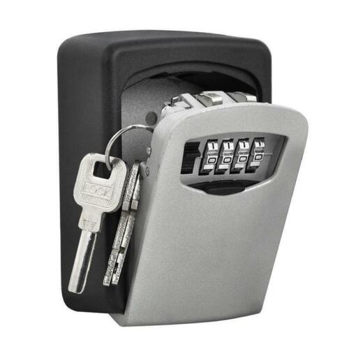 Black 4 Digit Wall Mounted Key Safe Outdoor Combination Lock Grey