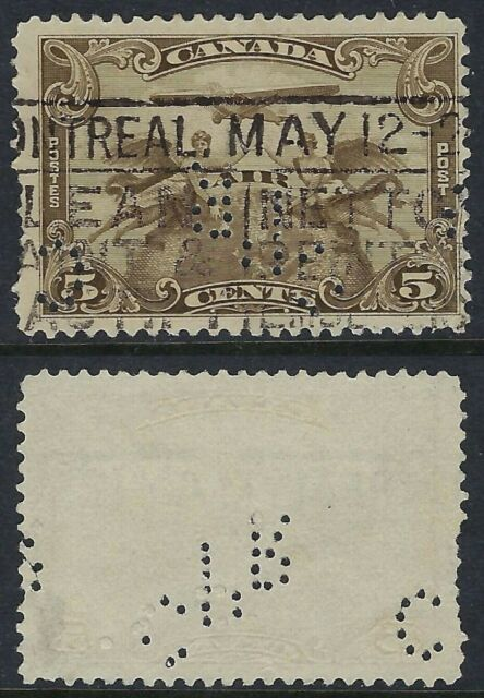 Canada Perfin C33-CPR (Montreal QC): Scott C1 First Airmail Issue, Plane & Angel