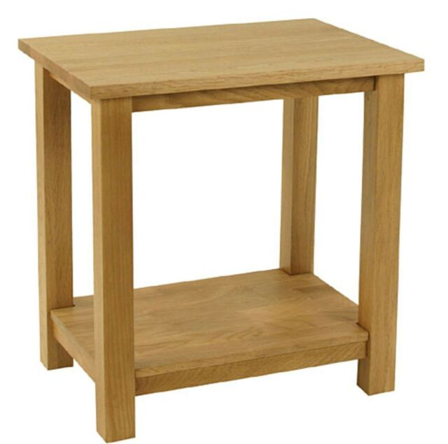 Carne Oak Lamp Table / Solid Oak Side Table with Shelf / Handcrafted Small Table