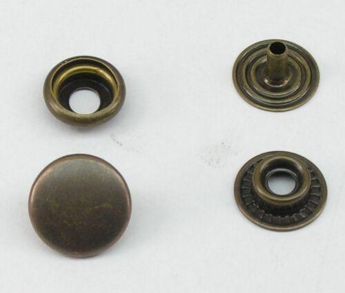 rostfrei 14mm altmessing Ringfeder 8mm 07.55 10 Druckknöpfe