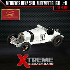 CMC M-082 1:18 1931 MERCEDES SSKL WHITE #8 GP NUREMBERG GERMANY DIECAST CAR