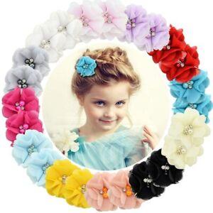 24 Pcs Bébé Filles Pinces À Cheveux En Mousseline De Soie Fleurs Barrettes...