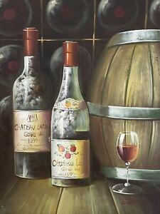 Wine Cellar Still Life Oil Painting Signed Edwards