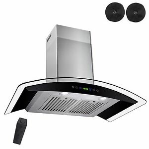 New-30-034-Wall-Mount-Black-Ductless-Stainless-Steel-Range-Hood-Stove-Vents-Kitchen