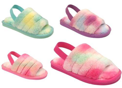 KIDS GIRLS FLUFFY RAINBOW OPEN TOE SLIP ON INFANTS WARM SLIPPERS SANDALS SHOE