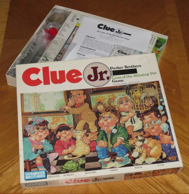 1989 parker brothers clue jr case of the missing pet board game complete nice