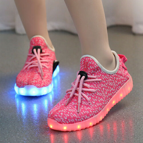 USB Charge Children LED Light Laces Up Sportswear Sneaker Luminous Casual Shoes