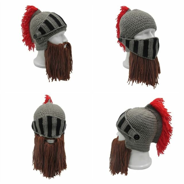 Unisex Roman Helmet Barbarian Knight Knit Winter Warm Ski Face Mask Funny Beanie Cosplay Ski Cap