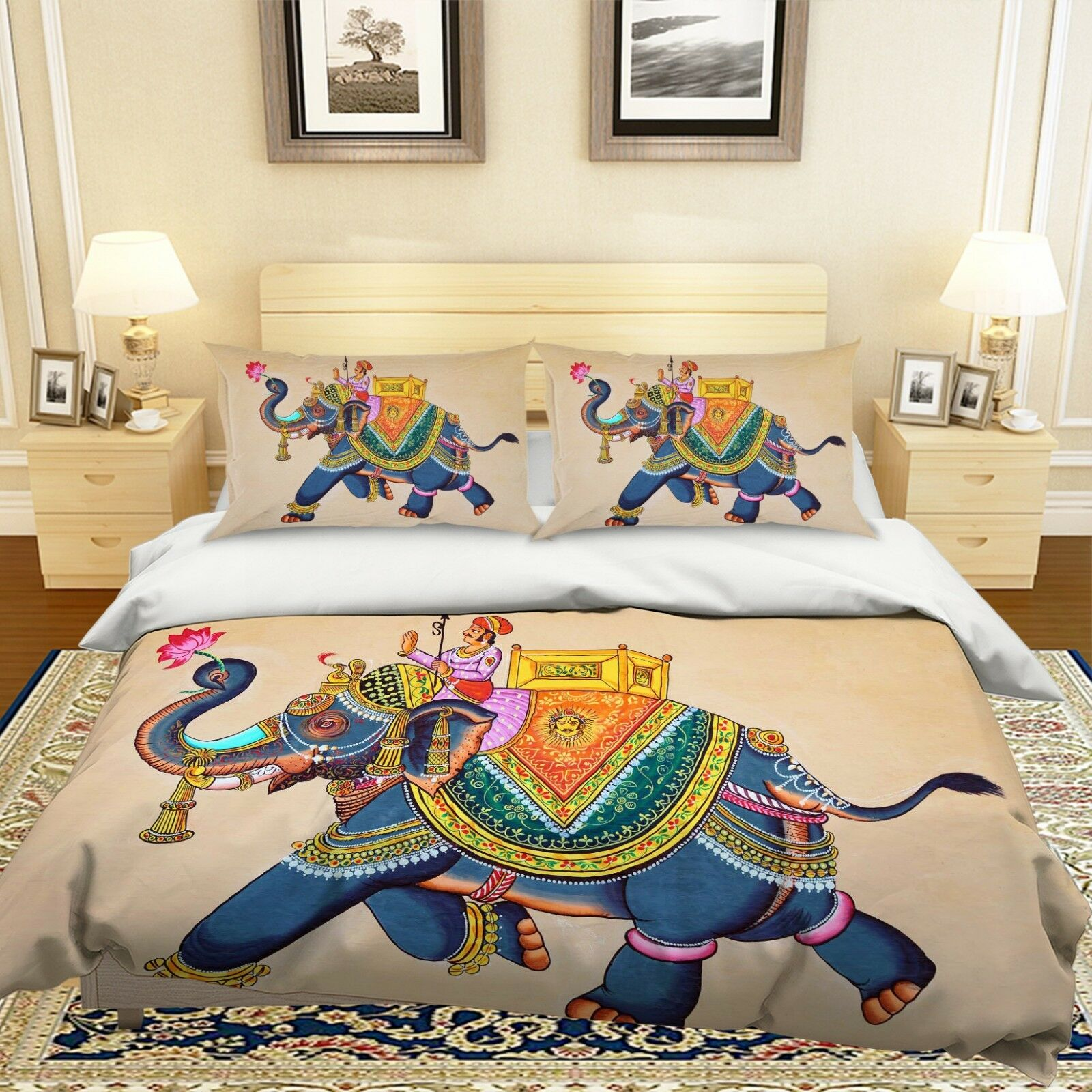 3D Indischer Elefant Mann 4 Bett Kissenbezüge steppen Duvet Decken Set Single DE