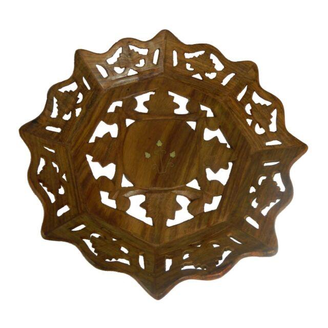 Schale 25cm Holz Obst Teller Servierschale Brotkorb Wohnen Tisch Kochen
