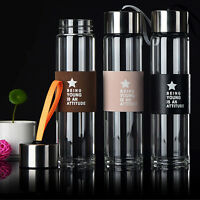 460ml H2o Glass Bottle Fruit Drink Water Bottle Cup Drinkware With Rope Leather