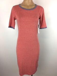 LuLaRoe Julia Knit Dress Short Sleeve Heather RED Blue Trim Size XS ... 39eeae920