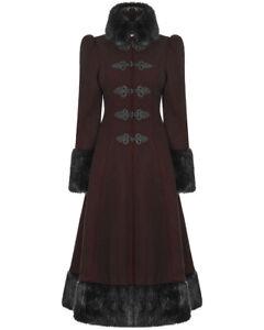 Punk Rave Pyon Womens Coat Long Jacket Black Gothic Steampunk Lolita VTG Fur