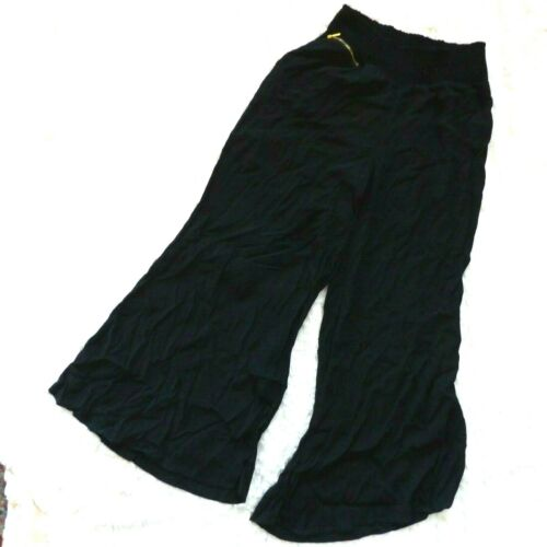 Small Leg Gold Wide Waist Zipper Pant Size Bebe Palazzo Smocked Black XPR7xnqaw