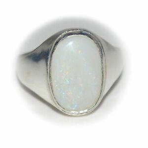 Natural-Opal-Sterling-Silber-Ring-5-Karat-Fett-Chakra-Heilung-Oktober-Birthstone