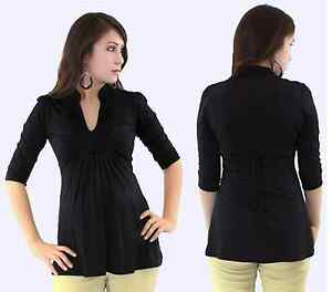 Cute-Black-Maternity-top-3-4-sleeve-with-tie-in-the-back-s-m-l-Xl