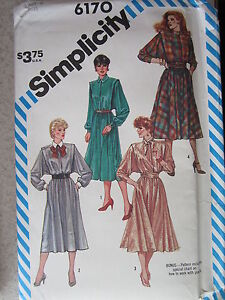 6170 VINTAGE Simplicity Sewing Pattern Flanged Dress Sash Fly Front Button Close