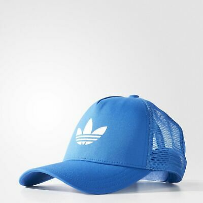 Adidas Originals Mens CAP Blue Headwear Hat Trefoil Trucker SIZE OSFM AJ8955 | eBay