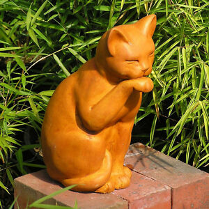 Image Is Loading Cast Stone Cement Contented Cat Outdoor Garden Statue