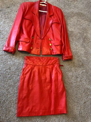 red leather skirt suit