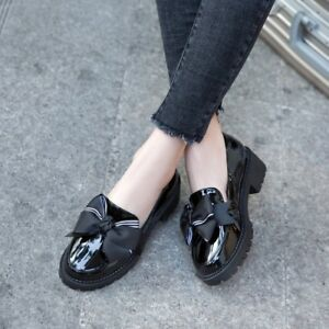 College-Womens-Retro-Leather-Shoes-Pumps-Bowknot-Patent-Chunky-Flat-Causal-Shoe