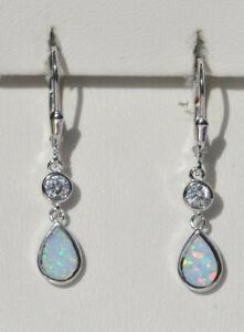 Echt-925-Sterling-Silber-Ohrringe-weiss-synth-Opal-Zirkonia-Geschenk-Nr-55