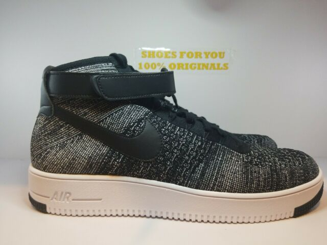 Nike Af1 Ultra Flyknit Mid Air Force 1 Black White Men Casual Shoes 817420 004 11