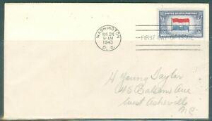 US-FDC-913 OVER RUN COUNTRIES NETHERLANDS cancel.WASHINGTON DC.AUG 24-1943 ADDR
