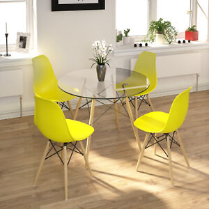 Glass Round Dining Table And 4 Yellow Chairs Set Small Glass Table Home Kitchen Ebay