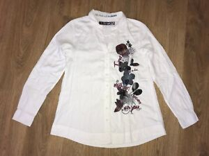 Desigual-womens-Style-18C2217-white-floral-pattern-shirt-blouse-size-S