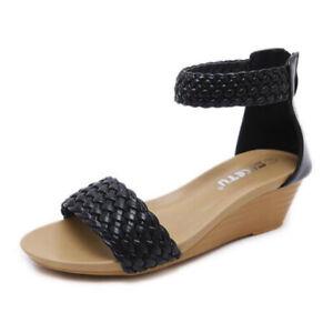 Sandalen-Absatz-Niedrig-Elegant-Komfortabel-Keilabsaetze-4-5-CM-Schwarz-1057