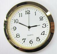 3 Pack, 2-1/8(55mm) Premium Quartz Clock Insert, Gold Bezel, Metal Case, Arabic