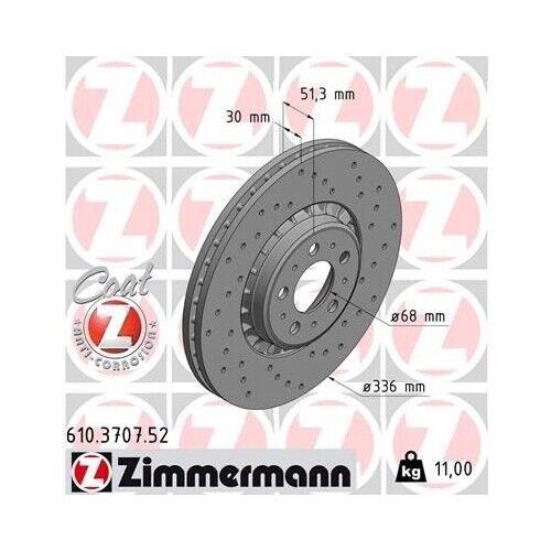 2x Disque De Frein Frein nouveau ZIMMERMANN 610.3707.52