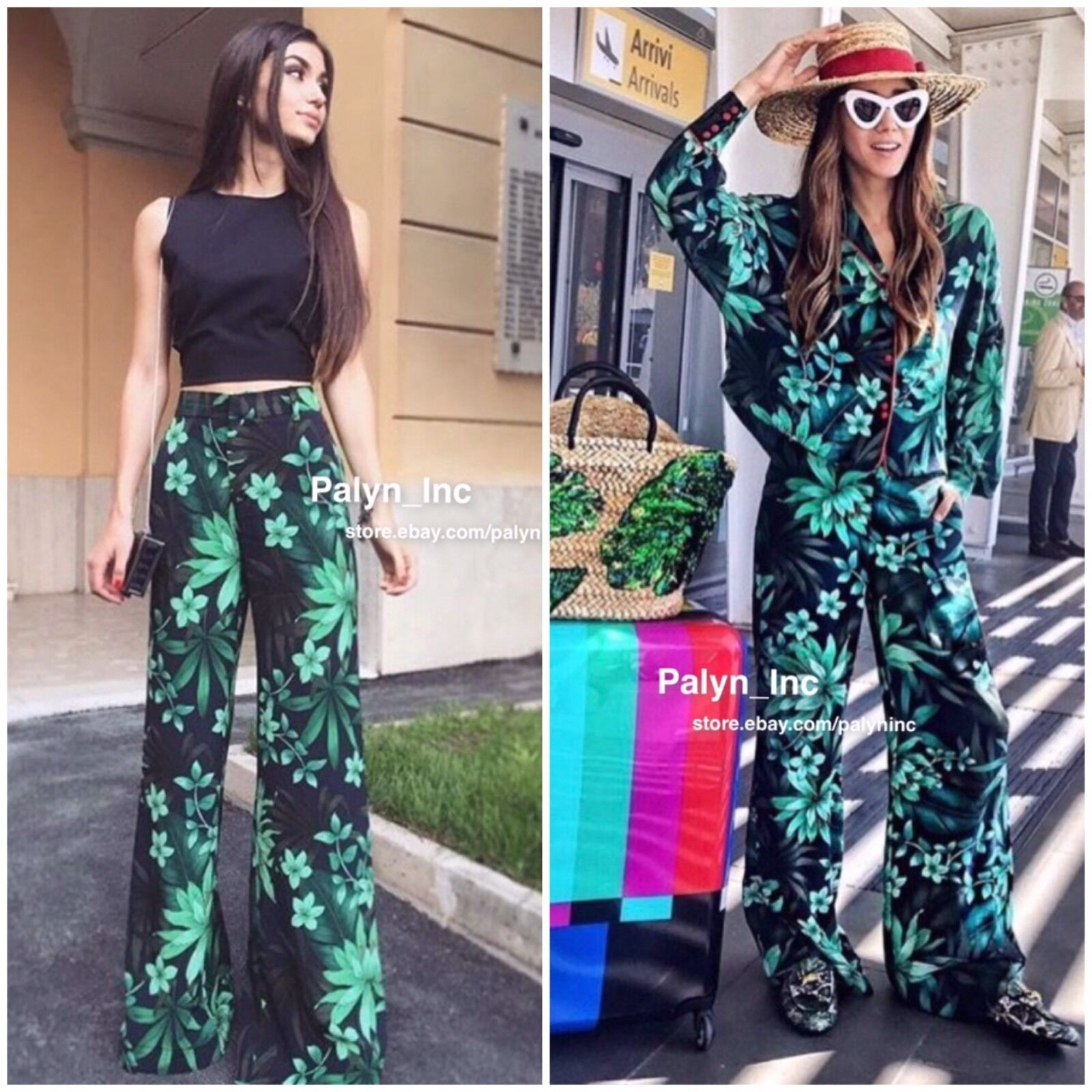 Rare_NWT ZARA SS17 LEAF TROPICAL PRINTED LONG PALAZZO TROUSERS PANTS_XS S M L