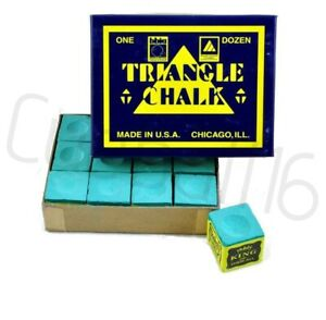 12-PIECES-BOX-GREEN-GENUINE-TRIANGLE-SNOOKER-or-POOL-CUE-TIP-CHALK-By-Tweeten