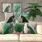 18'' Cotton Linen Peacock Soft Pillow Case Throw Waist Cushion Cover Home Decor