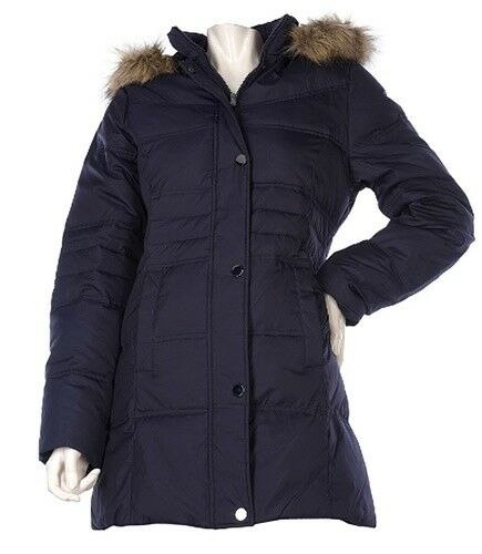 CENTIGRADE DOWN & FEATHERS SNAP FRONT WALKER COAT & REMOVABLE FAUX FUR HOOD XS