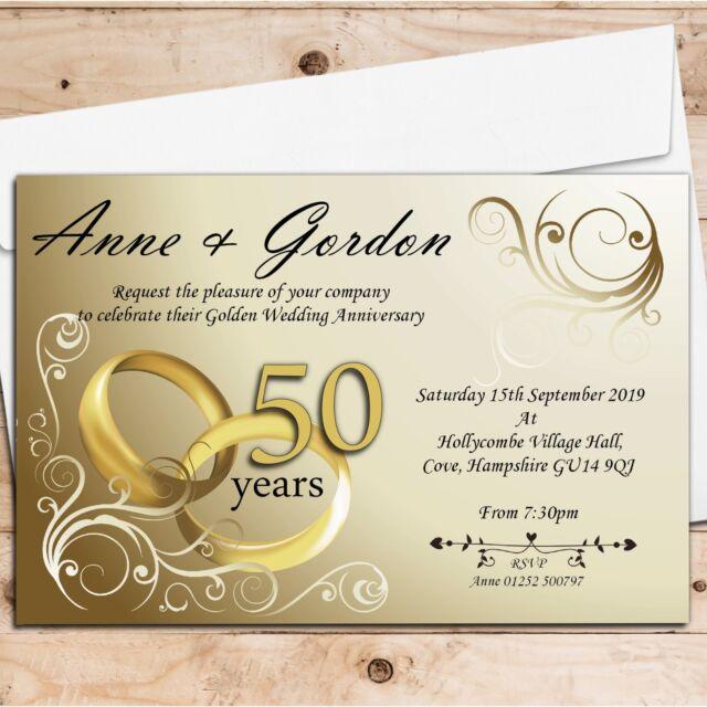 50 Personalised Golden 50th Wedding Anniversary Invitations Invites N1